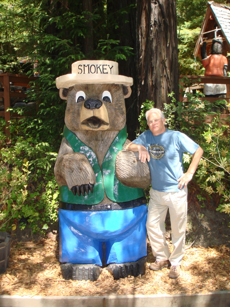 Smokey Bear and my author in the beautiful Redwoods on The Avenue of the Giants