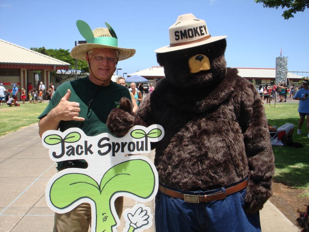 Smokey Bear, my author and me at a school fair.